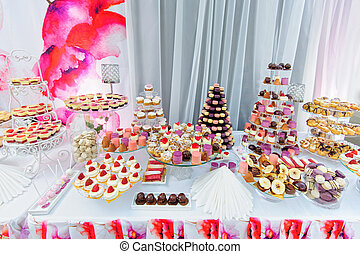 Amezing dessert stand with sweets
