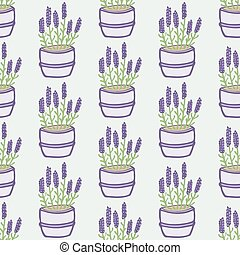 Lavender. Seamless pattern with flower pots on the white...