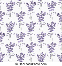 Lavender Seamless pattern with bouquets of lavender on the...