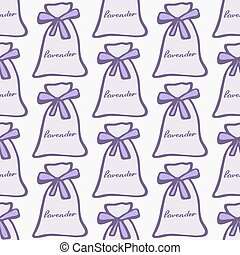 Lavender Seamless pattern with pouches or sachetes on the...