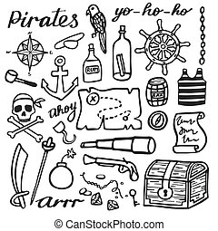 Pirate set, sea and treasures. Hand-drawn cartoon collection. Doodle drawing.