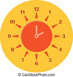Summer time concept. Combined clock and sun. Flat design.