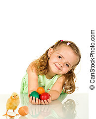 Adorable little girl with easter eggs and chicken - isolated...