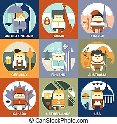 People of Different Nationalities Flat Style Vector...