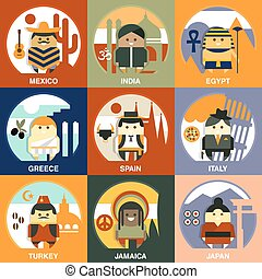 Representatives of Different Nationalities Flat Style Vector...