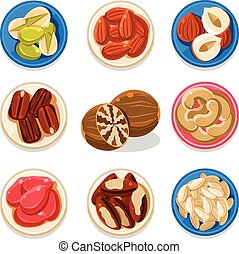Nut Icon Set Vector Illustration - Set of nut and seeds...