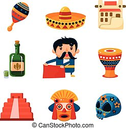 National Mexical Objects Vector Illustration - Set of...
