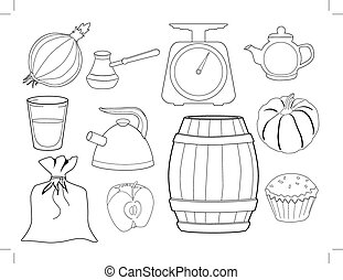 set of kitchen objects and foods