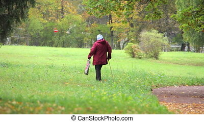 Old woman in the autumn Park