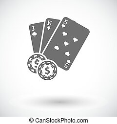 Baccarat. Single flat icon on white background. Vector...