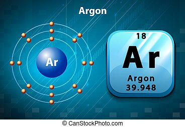 Symbol and electron diagram for Argon illustration