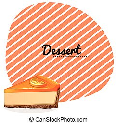Orange cheesecake and text illustration