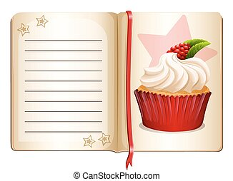 Notebook with cupcake on page