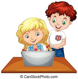 Boy and girl using computer illustration