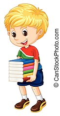 Little boy carrying stack of books