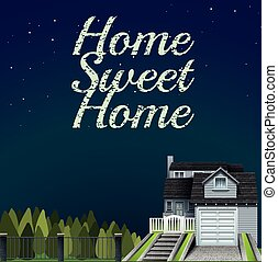 Home sweet home at night time illustration