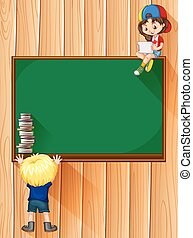 Students with books and blackboard