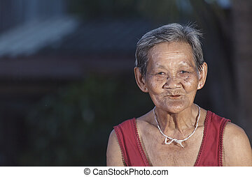 Smiling elderly people in thailand