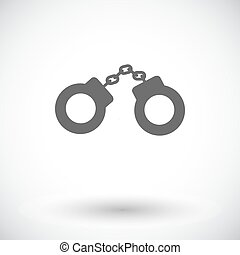 Handcuffs Single flat icon on white background Vector...