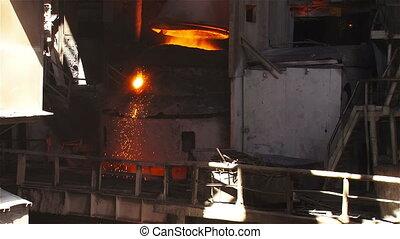 Tilting bucket converter - Hot steel pouring in steel plant
