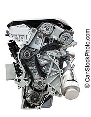 Car engine isolated on white - Four cylinder car engine...