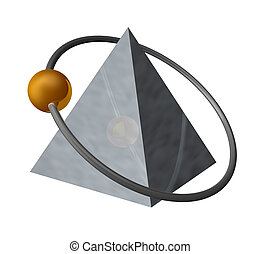 pyramid - golden ball fly around a metal pyramid - 3d...