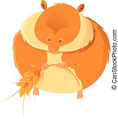 Hamster - Vector image of a cartoon orange hamster and wheat
