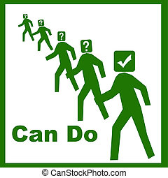 positive attitude illustration - can do attitude green men...