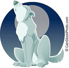 Gray wolf - Vector image of a gray wolf which howls at the...