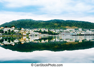 Cityscape of Bergen, Norway Architecture Background -...