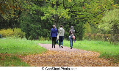 Three girlfriends in autumn Park