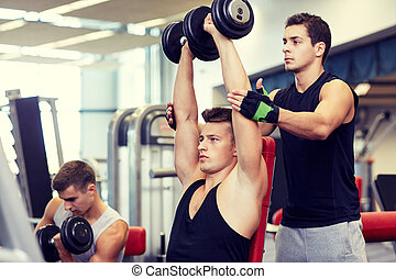 group of men with dumbbells in gym - sport, fitness,...
