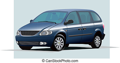 blue minivan - Isolated graphic illustration of modern blue...