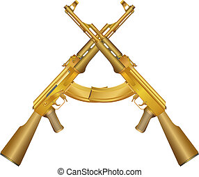 Two gold AK 47 - isolated illustration of gold gun on white...