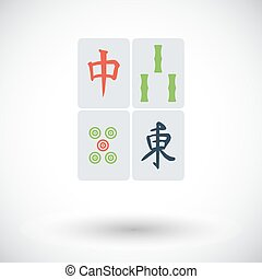 Mahjong. Flat vector icon for mobile and web applications....