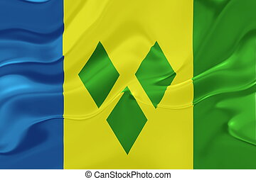 Flag of Saint Vincent and Grenadines wavy - Flag of Saint...