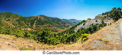 Panoramic View Of Mountains Landscape and serpentine road in...