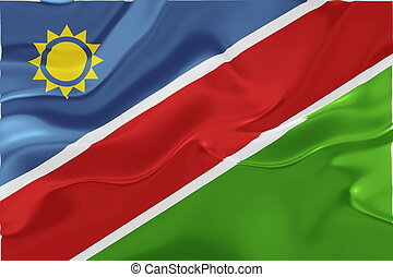 Flag of Namibia wavy - Flag of Namibia, national country...
