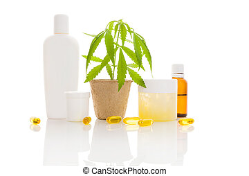 Hemp cosmetics. Moisturizer, cream, shampoo, oil and young...