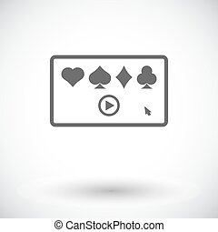 Video game Single flat icon on white background Vector...