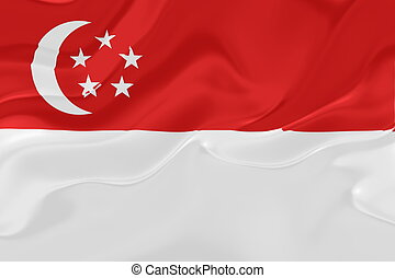 Flag of Singapore wavy - Flag of Singapore, national country...