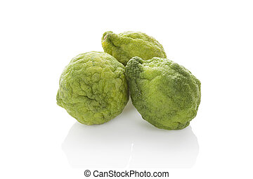 Bergamot orange. - Bergamot oranges isolated on white...