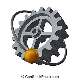 gear - golden ball fly around a gearwheel - 3d illustration
