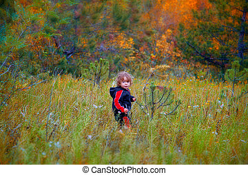 Baby boy in the woods - Portrait of 1 year old baby boy...