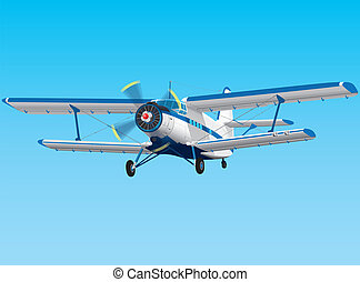 Prop biplane - Highly detailed vector propeller biplane