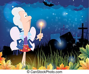 Fairy godmother in the cemetery