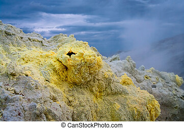 fumarolic field at the Mendeleev volcano, Kunashir island,...