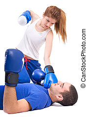 Boxing knockout Girl knocked out man