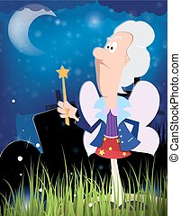 Fairy godmother with magic wand