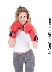 Kickboxing Girl - Girl exercise kickboxing in studio....